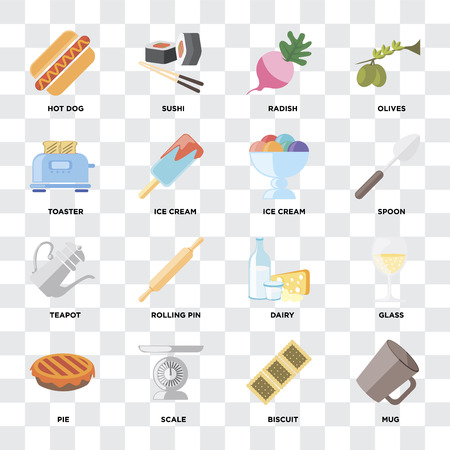 Set Of 16 icons such as Mug, Biscuit, Scale, Pie, Glass, Hot dog, Toaster, Teapot, Ice cream on transparent background, pixel perfect Çizim