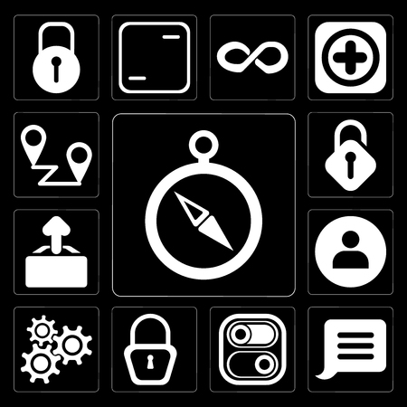 Set Of 13 simple editable icons such as Compass, Notification, Switch, Locked, Settings, User, Upload, Unlocked, Placeholders on black background