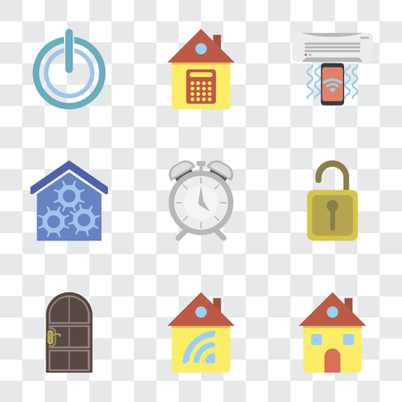Set Of 9 simple transparency icons such as Home, Door, Unlock, Alarm, Smart home, Air conditioner, Power, can be used for mobile, pixel perfect vector icon pack on transparent background Ilustração