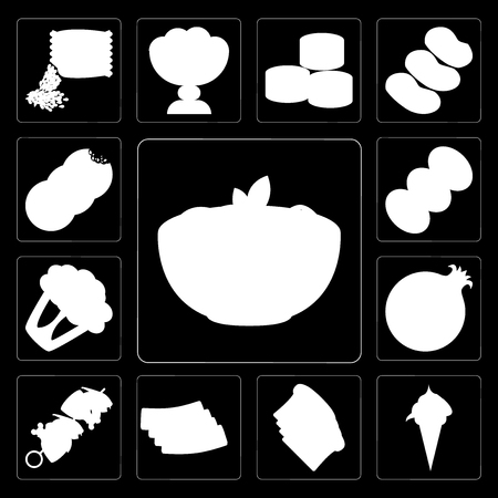 Set Of 13 simple editable icons such as Pasta, Ice cream, Toast, Bacon, Kebab, Pomegranate, Cauliflower, Coffee, Cookies on black background