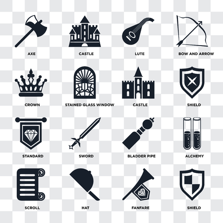 Set Of 16 icons such as Shield, Fanfare, Hat, Scroll, Alchemy, Axe, Crown, Standard, Castle on transparent background, pixel perfect Stock fotó - 107139422