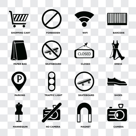 Set Of 16 icons such as Camera, Magnet, No camera, Mannequin, Shoes, Shopping cart, Paper bag, Parking, Closed on transparent background, pixel perfect