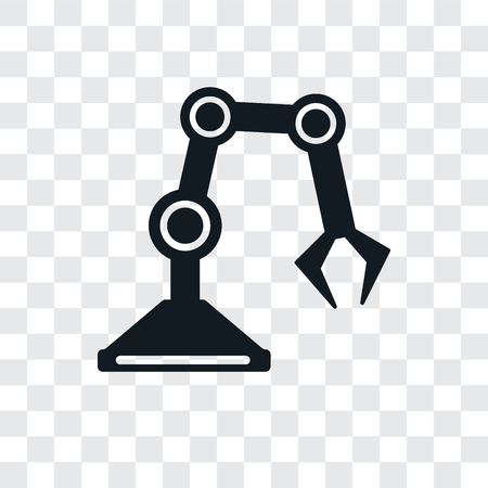 Industrial robot vector icon isolated on transparent background