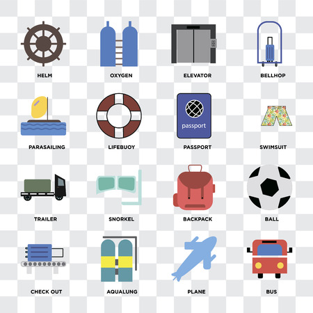Set Of 16 icons such as Bus, Plane, Aqualung, Check out, Ball, Helm, Parasailing, Trailer, Passport on transparent background, pixel perfect