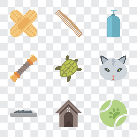 Set Of 9 simple transparency icons such as Ball, Kennel, Litter box, Cat, Turtle, Rope, Shampoo, Comb, Band aid, can be used for mobile, pixel perfect vector icon pack on transparent background