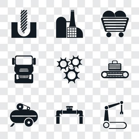 Ensemble de 9 icônes de transparence simples telles que bras robotique, tuyau, compresseur, convoyeur, roue dentée, camion, charbon, usine, perceuse, peuvent être utilisées pour le mobile, pack d'icônes vectorielles parfait pixel sur transparent Vecteurs
