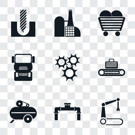 Set Of 9 simple transparency icons such as Robotic arm, Pipe, Compressor, Conveyor, Cogwheel, Truck, Coal, Factory, Drill, can be used for mobile, pixel perfect vector icon pack on transparent