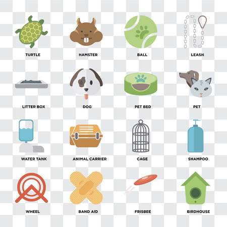 Set Of 16 icons such as Birdhouse Wheel, Shampoo, Turtle, Litter box, Water tank, Pet bed on transparent background, pixel perfect Standard-Bild - 107141126