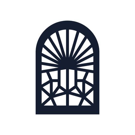Buntglasfenster-Symbolvektor lokalisiert auf weißem Hintergrund für Ihr Web- und mobiles App-Design Vektorgrafik