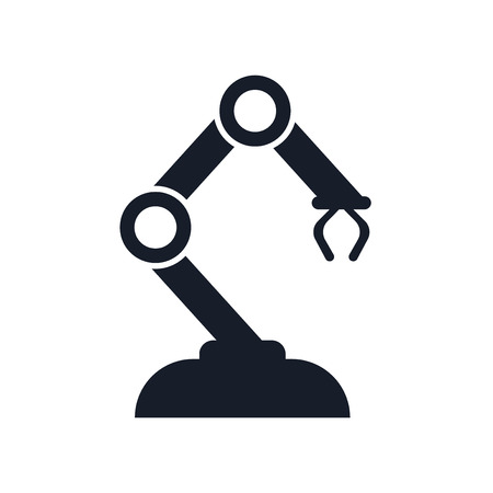Robotic arm icon vector isolated on white background for your web and mobile app design, Robotic arm icon concept Vettoriali