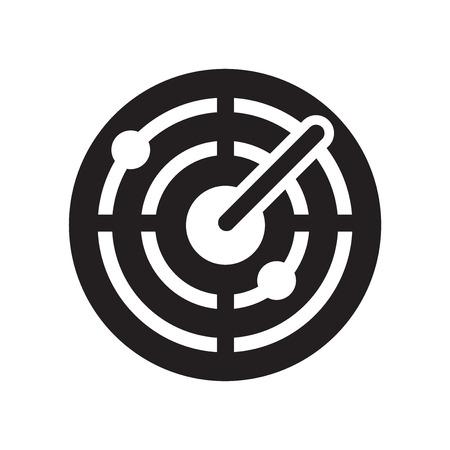 Radarsymbolvektor lokalisiert auf weißem Hintergrund für Ihr Web- und Mobilanwendungsdesign, Radarsymbolkonzept Vektorgrafik