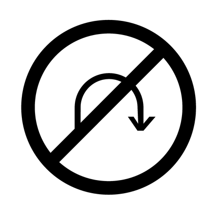 No turn icon vector isolated on white background for your web and mobile app design