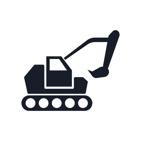Excavator icon vector isolated on white background for your web and mobile app design