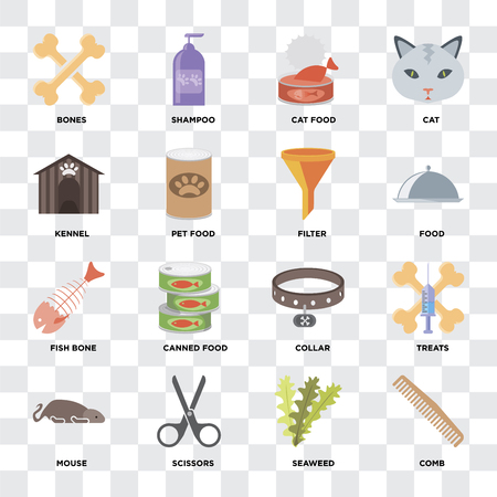 Set Of 16 icons such as Comb, Seaweed, Scissors, Mouse, Treats, Bones, Kennel, Fish bone, Filter on transparent background, pixel perfect Vectores