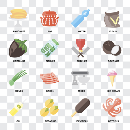 Set Of 16 icons such as Octopus, Ice cream, Pistachio, Oil, Pancakes, Hazelnut, Chives, Butcher on transparent background, pixel perfect Illustration