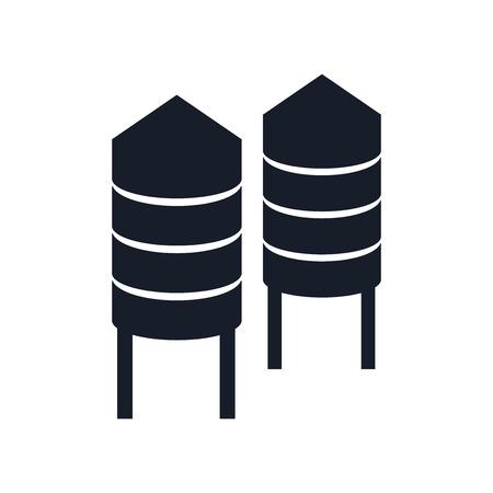 웹 및 모바일 앱 디자인을위한 흰색 배경에 고립 된 사일로 아이콘 벡터