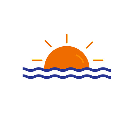 Sunset icon vector isolated on white background for your web and mobile app design, Sunset icon concept