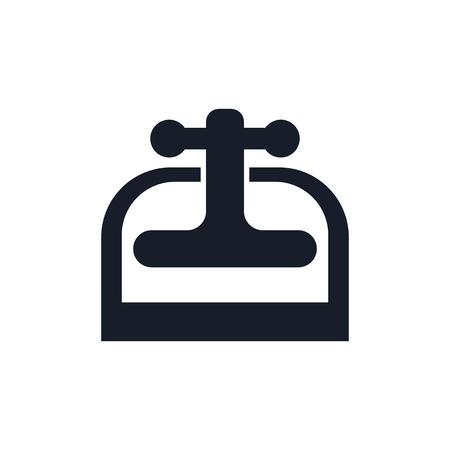 Maschinenpresse-Symbolvektor lokalisiert auf weißem Hintergrund für Ihr Web- und mobiles App-Design Vektorgrafik