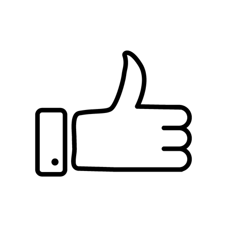 Thumbs up icon vector isolated on white background, Thumbs up transparent sign , line or linear sign, element design in outline style Illustration
