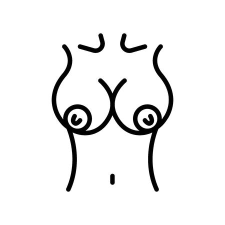 Seno icona vettoriale isolato su sfondo bianco, segno trasparente del seno, elementi di linea e muta in stile lineare Vettoriali