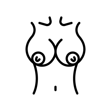 Breast icon vector isolated on white background, Breast transparent sign , line and outline elements in linear style