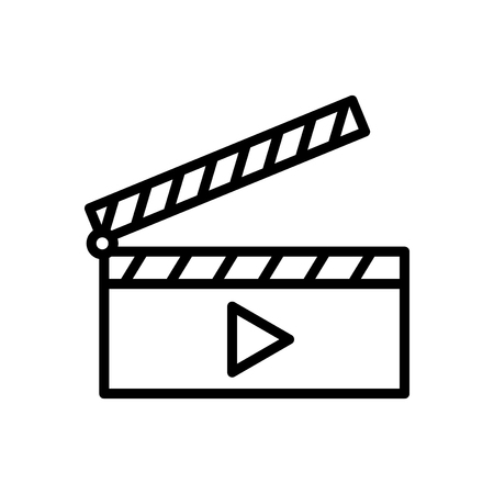 Clapperboard icon vector isolated on white background, Clapperboard transparent sign , line and outline elements in linear style