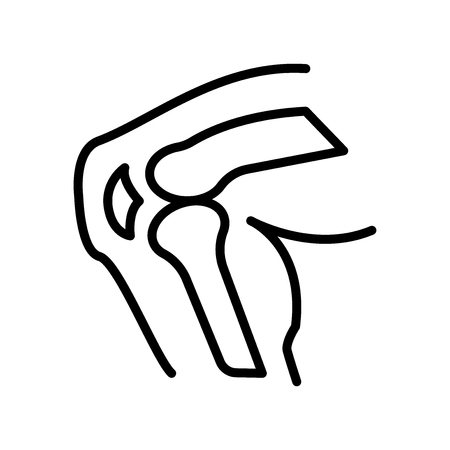 Knee icon vector isolated on white background, Knee transparent sign , line and outline elements in linear style Illustration