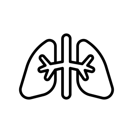 Lungs icon vector isolated on white background, Lungs transparent sign , line and outline elements in linear style