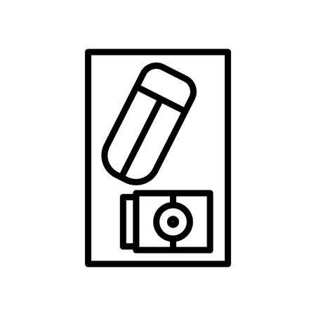 Eraser icon vector isolated on white background, Eraser transparent sign , line and outline elements in linear style