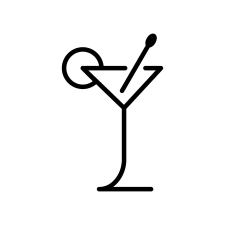 Cocktail icon vector isolated on white background, Cocktail transparent sign , line and outline elements in linear style