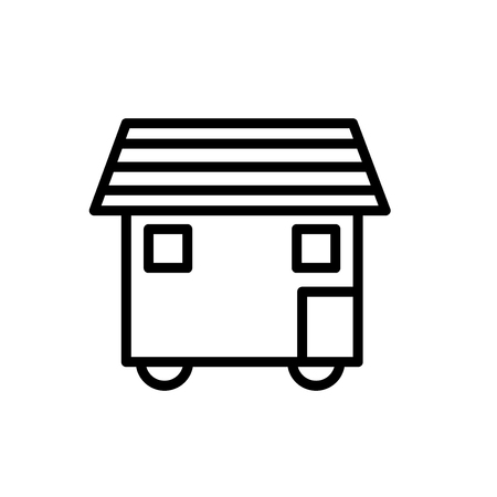 House On Wheels icon vector isolated on white background, House On Wheels transparent sign , line or linear sign, element design in outline style Stock Vector - 111604446