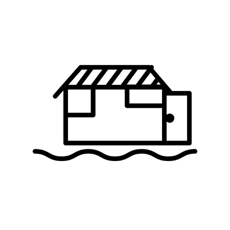 Houseboat icon vector isolated on white background, Houseboat transparent sign , line or linear sign, element design in outline style