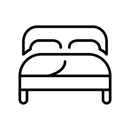 Double bed icon vector isolated on white background, Double bed transparent sign , line and outline elements in linear style