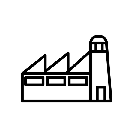 Factory icon vector isolated on white background, Factory transparent sign , line or linear sign, element design in outline style Illustration