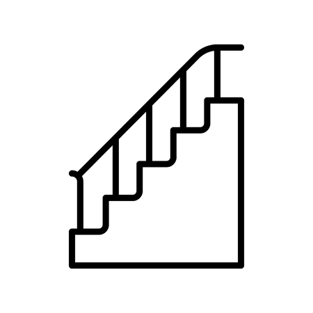 Stairs icon vector isolated on white background, Stairs transparent sign , line and outline elements in linear style Illustration