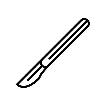 Skalpellikonenvektor lokalisiert auf weißem Hintergrund, transparentes Zeichen des Skalpells, Linien- und Umrisselemente im linearen Stil