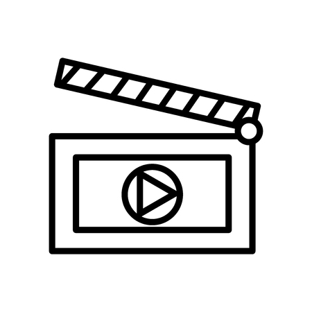 Clapboard icon vector isolated on white background, Clapboard transparent sign , line and outline elements in linear style Illustration