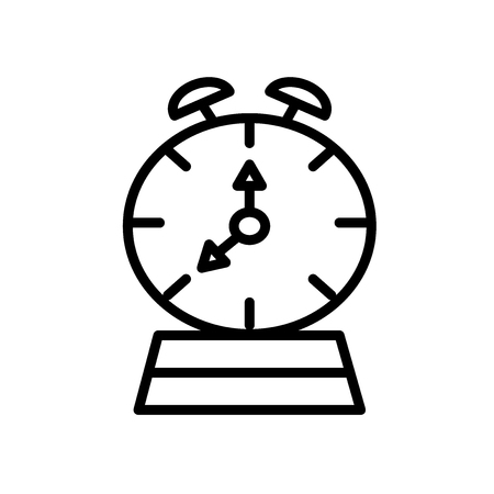 Alarm clock icon vector isolated on white background, Alarm clock transparent sign , line and outline elements in linear style Illustration