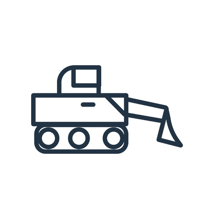 Bulldozer icon vector isolated on white background, Bulldozer transparent sign Vettoriali
