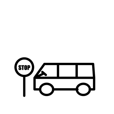 Bus stop icon vector isolated on white background, Bus stop transparent sign , line or linear sign, element design in outline style