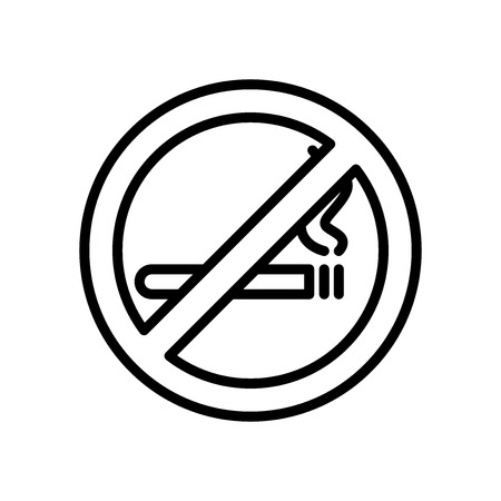 No smoking icon vector isolated on white background, No smoking transparent sign , line and outline elements in linear style Banco de Imagens - 111604612