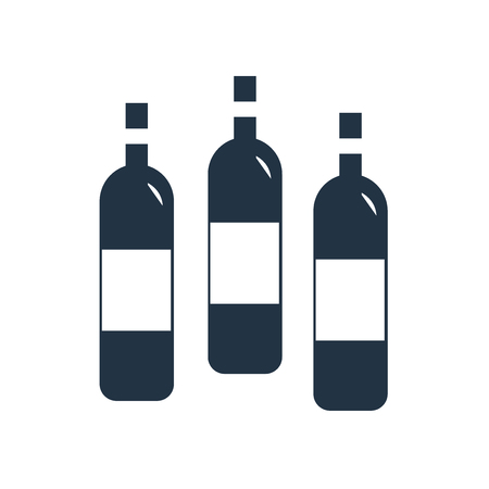 Wine bottle icon vector isolated on white background, Wine bottle transparent sign