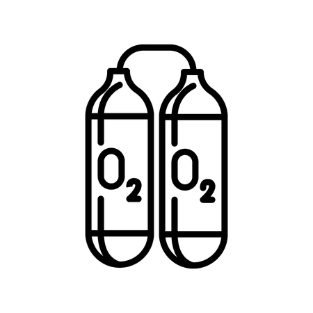Oxygen tank icon vector isolated on white background, Oxygen tank transparent sign , line and outline elements in linear style