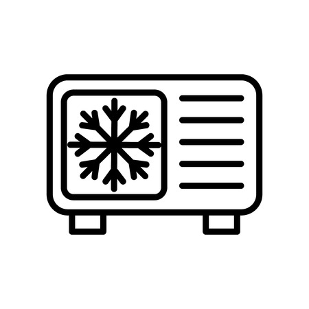 Raffreddamento icona vettoriale isolato su sfondo bianco, segno trasparente di raffreddamento, elementi di linea e muta in stile lineare Vettoriali