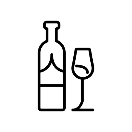 Wine icon vector isolated on white background, Wine transparent sign , line and outline elements in linear style