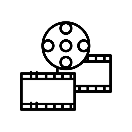 Film strip icon vector isolated on white background, Film strip transparent sign , line and outline elements in linear style Illustration