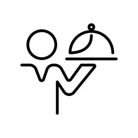 Kellner-Symbolvektor isoliert auf weißem Hintergrund, Kellner-transparentes Zeichen, Linien- und Umrisselemente im linearen Stil