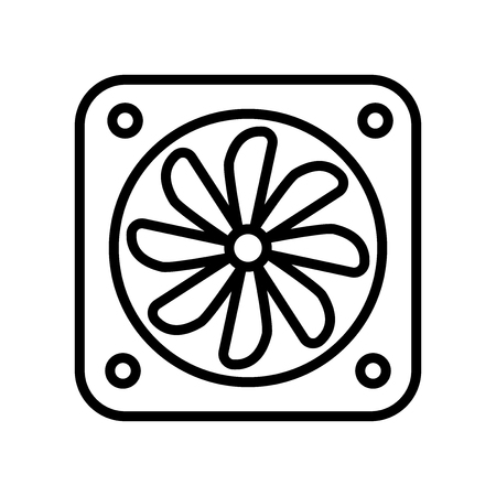 Fan icon vector isolated on white background, Fan transparent sign , line and outline elements in linear style