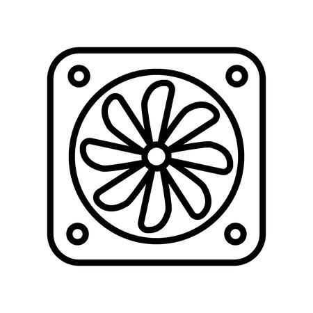 Vecteur d'icône de ventilateur isolé sur fond blanc, éléments transparents de signe, de ligne et de contour de ventilateur dans un style linéaire