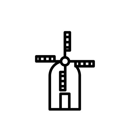 Wind Mill icon vector isolated on white background, Wind Mill transparent sign , line or linear sign, element design in outline style  イラスト・ベクター素材